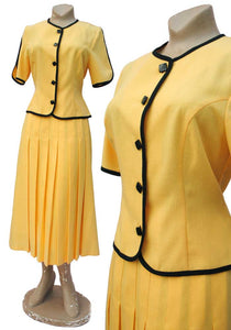 vintage 80s yellow pleated skirt suit by Marion Donaldson BNWT