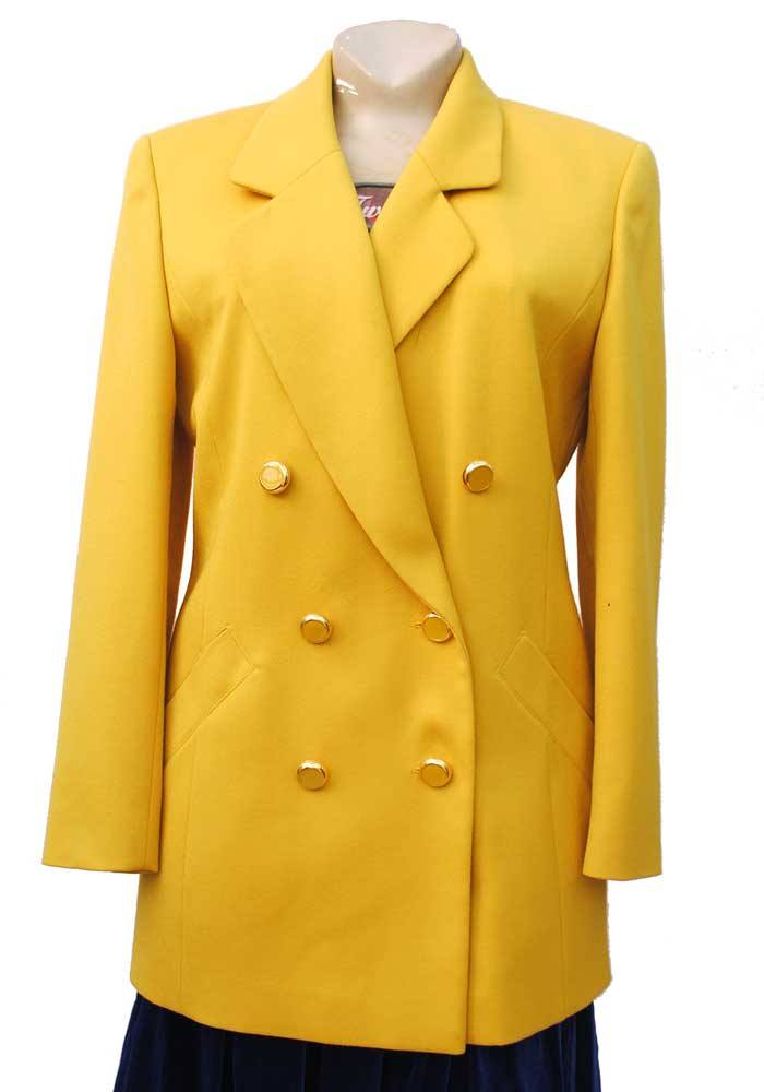 vintage 80s power jacket in bright yellow