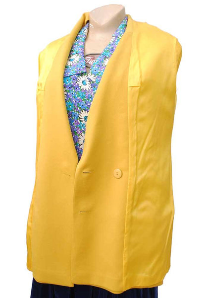 1980s Women's Yellow Lagerfeld Double Breasted Power Jacket • Wool