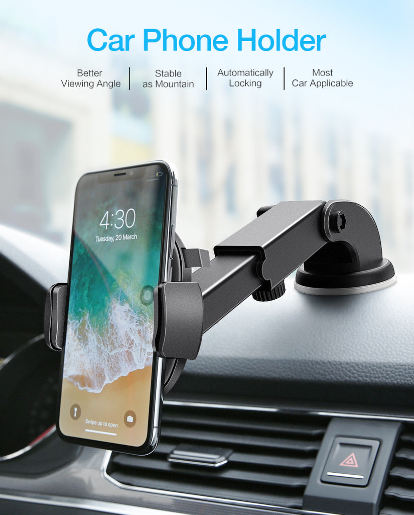 Car Phone Holder - Adjustable Extension Arm & Quick Release