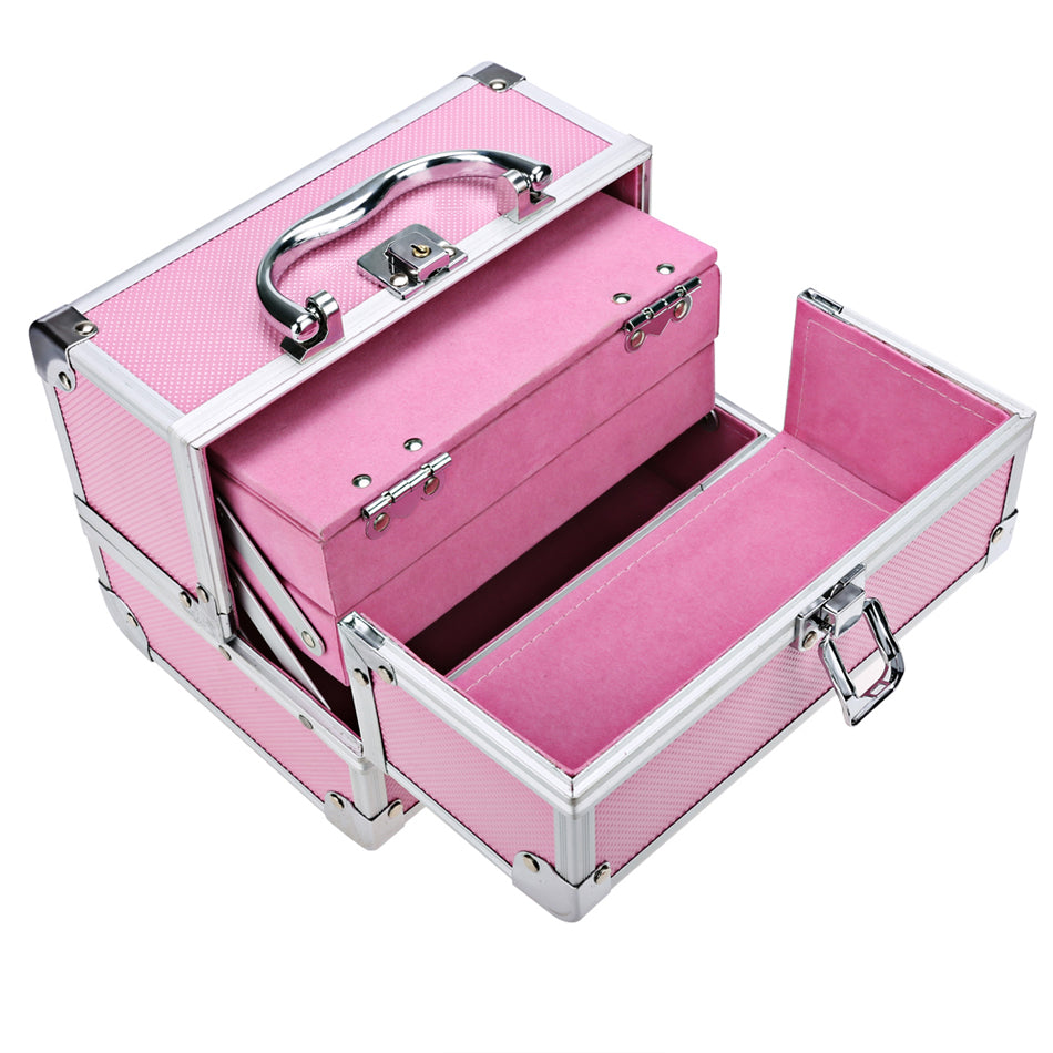 ... Portable U0026 Extendable Mini Makeup Train Case Made With Aluminum.  Cosmetic/Makeup Storage ...