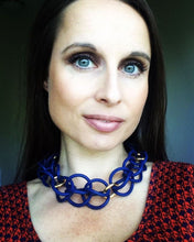 Trio Necklace - stunning in navy loops and gold color rings.