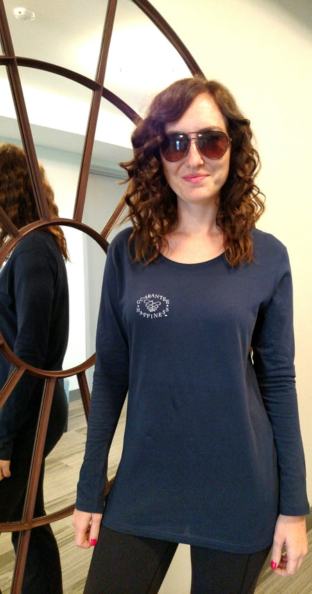 Oh Yes I Did!  Long Sleeve Black Scoop Neck Tee