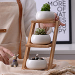 Modern Minimalist 3-Tier Bamboo Shelf White Ceramic Flowerpot