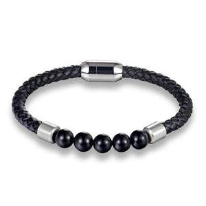 Beaded Leather Bracelet - PG779 / 20.5cm - Accessories for man