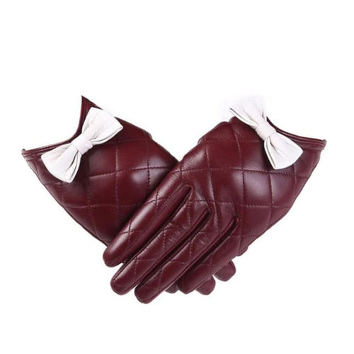 Bow Gloves - Wine red / L - Gloves