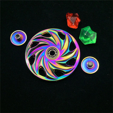 2017 Hot Sale Wheel Rainbow Alloy Finger Hand Spinner Spiral Bearing Stocking Spinning Toy EDC Kids