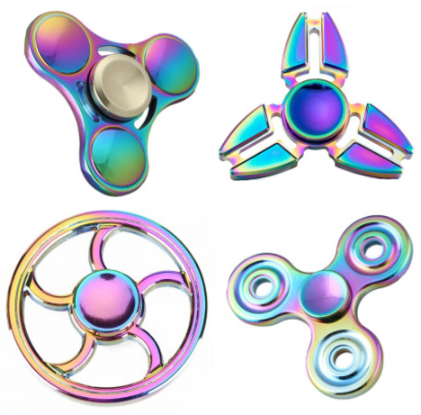 Fidget Spinner Rainbow Colour Aluminum Metal Material