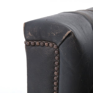 Hendrix Destroyed Black Leather Swivel Chair
