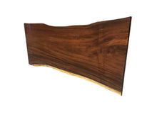 "112"" Live edge solid wood dining table with lucite base"