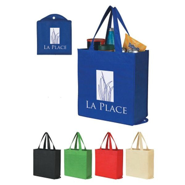 Bolsa plegable non woven y reutilizable. En base de PP reciclado. Doblable