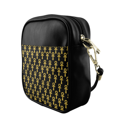 Black and Gold Ankh Sling Bag
