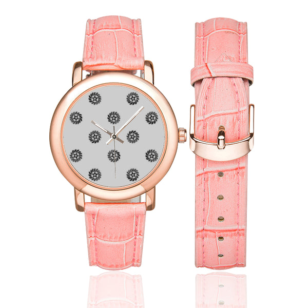 Adinkra Symbol (Transformation) Women's Rose Gold Leather Strap Watch