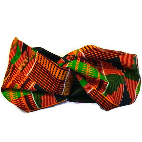Kente Orange Turbanette Head Band