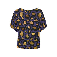 Leopard (Purple/Gold) Women's Batwing Sleeved Shirt