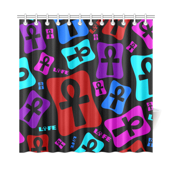 "Ankh Life (Multicolor) Shower Curtain (72""x72"")"