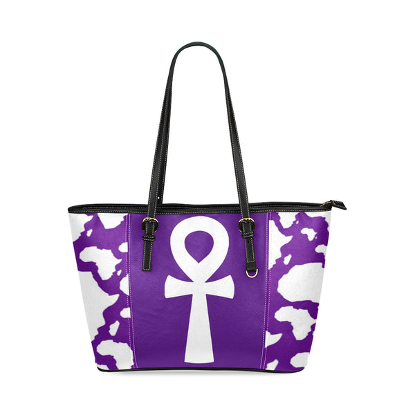 Purple Ankh Leather Tote Bag