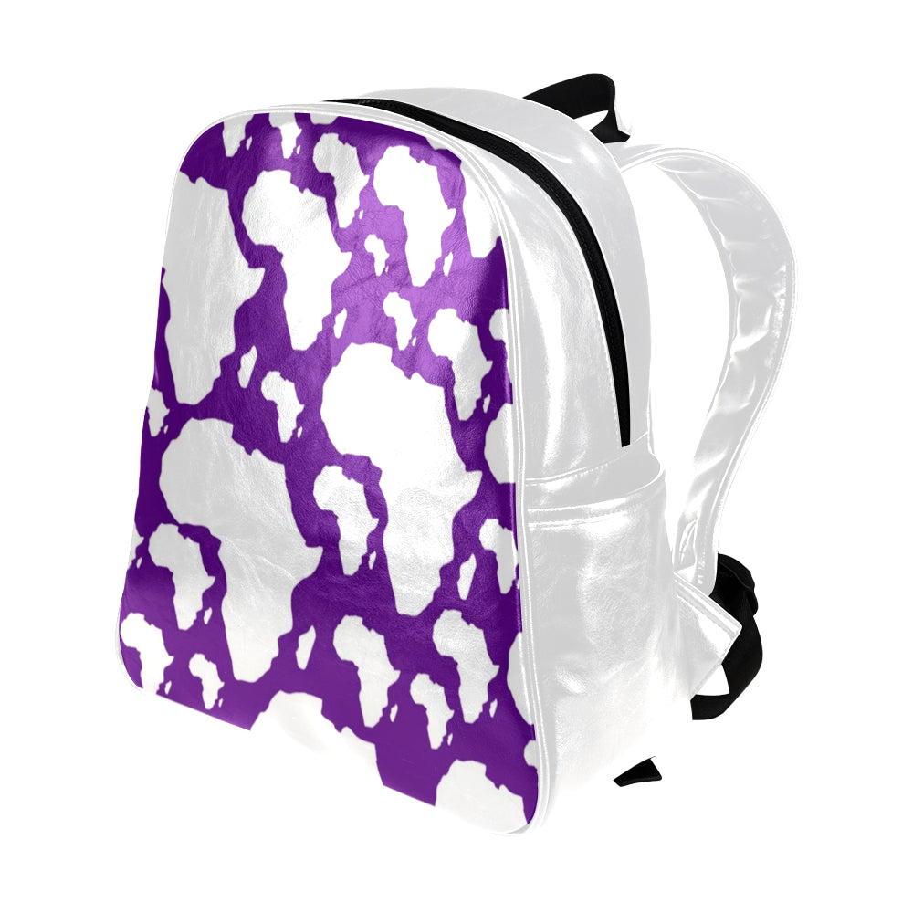 Purple/White Africa Multipocket Leather Backpack