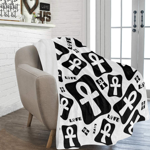 "Ankhlife (White) Fleece Blanket 60""x80"""