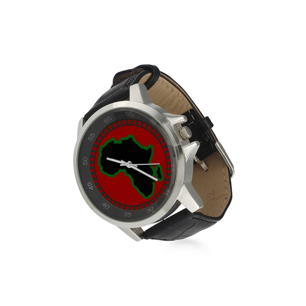PAN AFRICAN 2020 Unisex Stainless Steel/Leather Watch