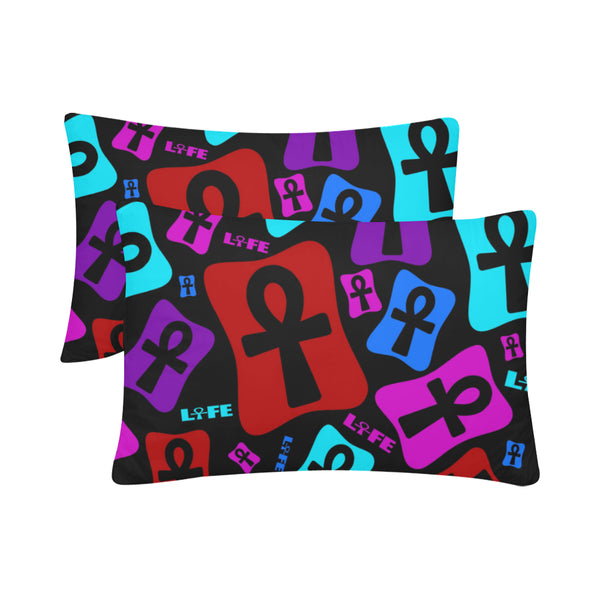 "Ankh Life (Multi Color) Pillow Case 20""x 30"" (One Side) (Set of 2)"