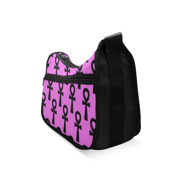 Pink & Black Egyptian Ankh Messenger Bag
