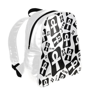 Ankh Life (White) Leather Backpack