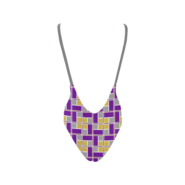 Purple and Gold Rec Tec™ Low Back 1Pc Swimsuit