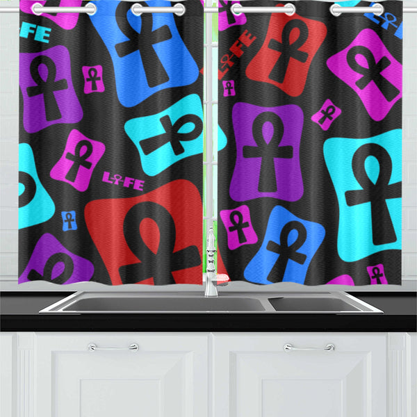 Ankh Life (Multi Color) Kitchen or Bedroom Curtains( 26'' X 39'' - 2 PC)