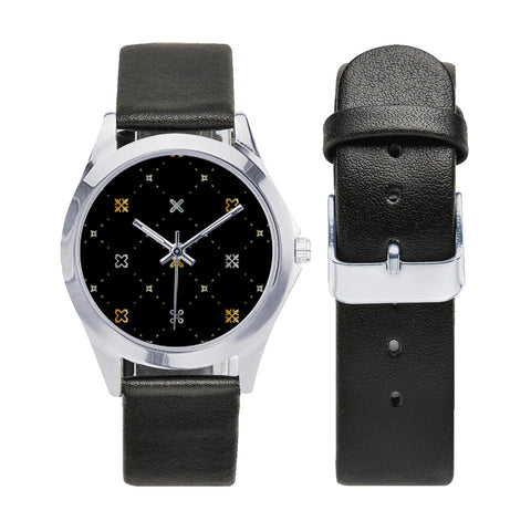Adinkra Silver-Tone Round Leather Watch