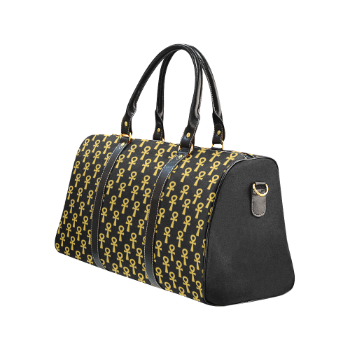 Black and Gold Water Resistant Travel Bag (Large)