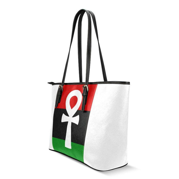 RBG Flag Ankh Leather Tote Bag (Large)