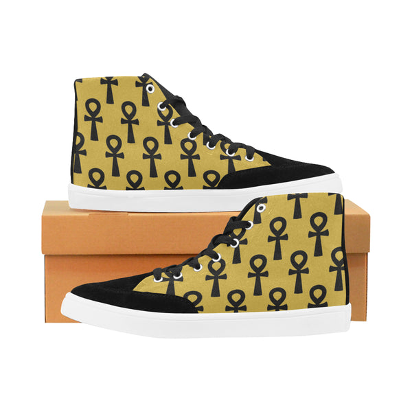 Gold & Black Ankh Hi Top Sneakers (Men)