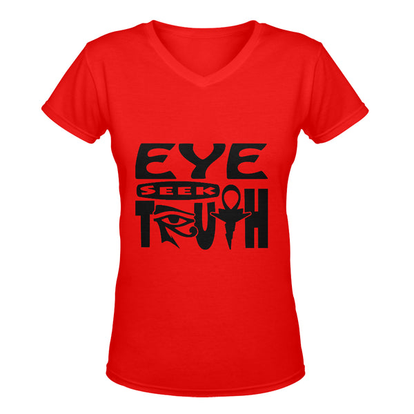 Eye Seek Truth™ Women's Deep V-neck T-shirt (Red)