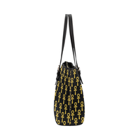 Black and Gold Ankh Leather Tote Bag (Large)