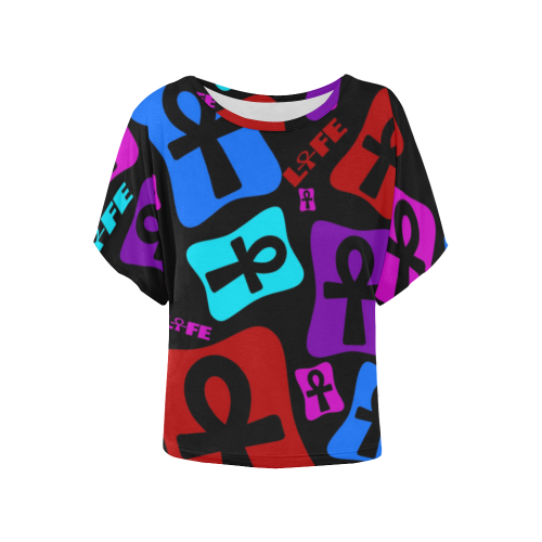 Ankh Life (Multicolor) Women's Batwing-Sleeved Blouse