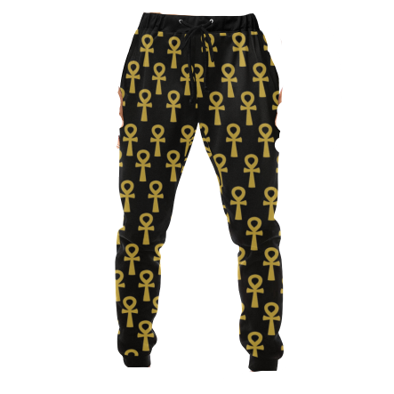 Black and Gold Ankh Jogger Pants