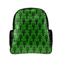 Green & Black Ankh Leather Backpack