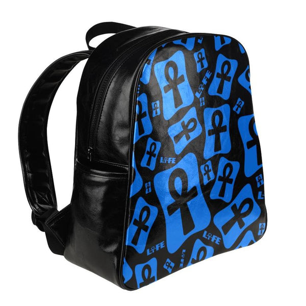 Ankh Life (Blue) Leather Backpack
