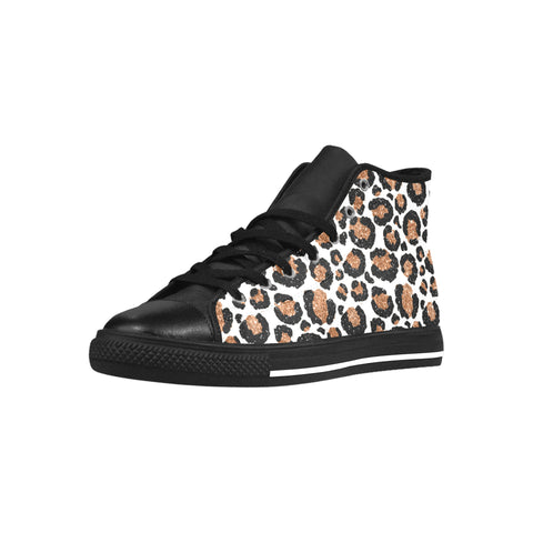 Leopard (White/Gold) High Top Microfiber Leather Women's Shoes