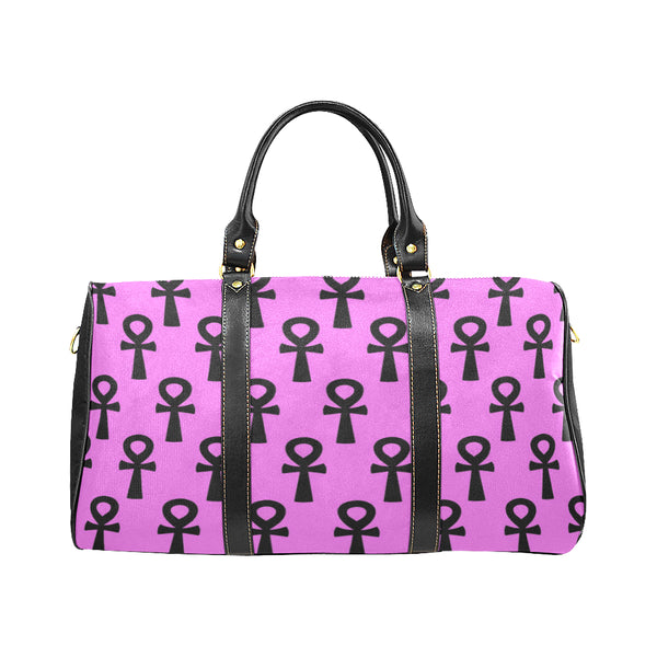 Pink & Black Egyptian Ankh Water Resistant Travel Bag (Large)