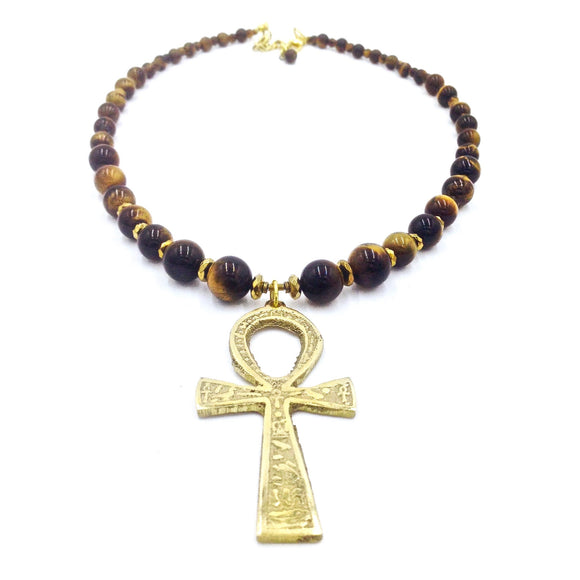Tiger Eye Ankhlace™ w/3 Inch Ankh II