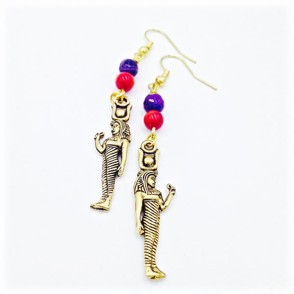 Purple Agate & Red Coral Hathor Earrings