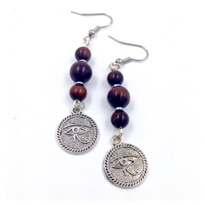 Red Tiger's Eye Heru Charm Earrings