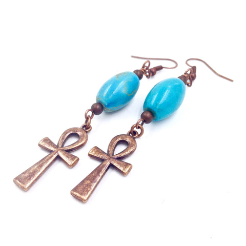 Blue Turquoise / Copper Ankh Earrings II