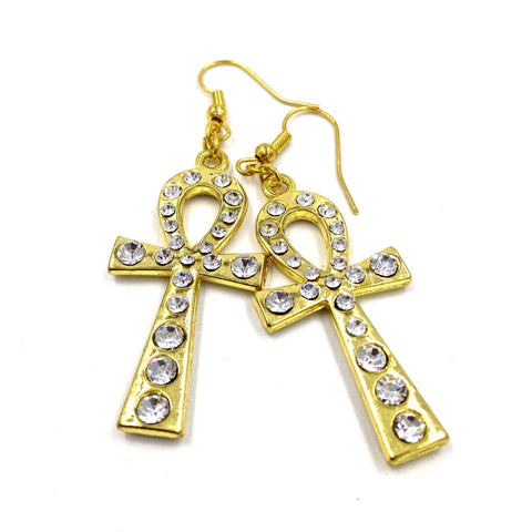 Gold Rhinestone Ankh Earrings