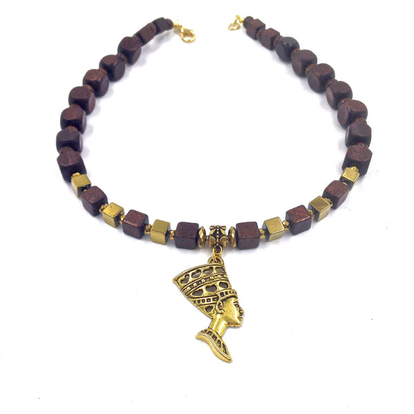 Ebony Wood / Gold Hematite Queen Necklace II
