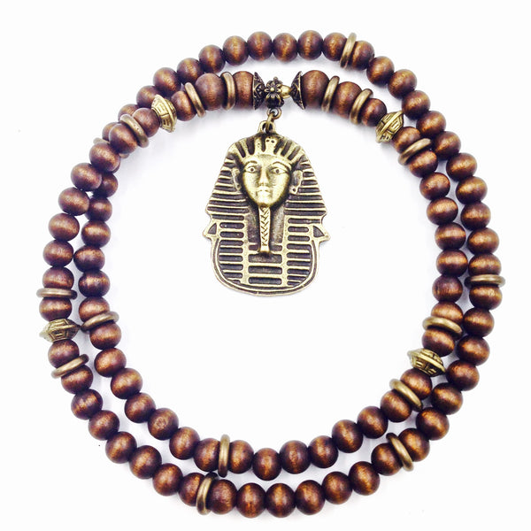 Ebony Wood and Bronze Pharaoh Neckpiece