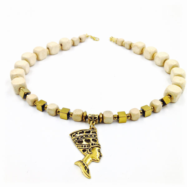 Cream Wood / Gold Hematite Queen Necklace III