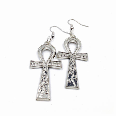 Silver Ankh Earrings